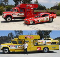 Snake and Mongoose Funny Cars and Haulers Funny Car Drag Racing, Nhra Drag Racing, Funny Cars, Auto Racing, Vintage Race Car, Vintage Trucks, Snake And Mongoose, Car Carrier, Old Race Cars