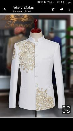 """""""Enjoy the epitome of ease and the peak of elegance in this bespoke """"White Prince Suit"""" which enables you to stand out on your special day."""" Inbox us or 📞 for pricing and Free Designer's Appointment Wedding Dresses Men Indian, Wedding Dress Men, Wedding Suits, Wedding Tuxedos, Mens Kurta Designs, Nigerian Men Fashion, Indian Men Fashion, African Dresses Men, African Clothing For Men"""
