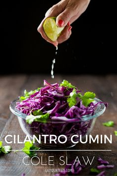 Cilantro Cumin Cole Slaw. Ditch the mayo this summer for a healthy recipe. This lighter version uses olive oil & is perfect for Memorial Day or any summer BBQ!