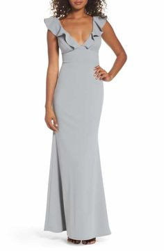 Gray maxi dress for a wedding - Perfect Opportunity Ruffle Mermaid Gown Cheap Wedding Guest Dresses, Affordable Bridesmaid Dresses, Bridesmaid Dress Colors, Affordable Dresses, Trendy Dresses, Grey Bridesmaids, Midi Dresses, Summer Dresses, Maxis