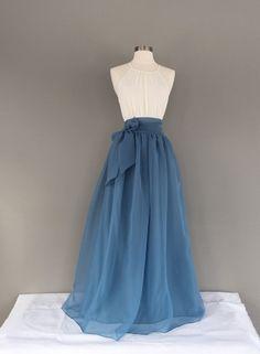 BLUE STONE Chiffon Skirt, any length and color Bridesmaid skirt, floor length, tea length, knee length empire waist blue chiffon skirt – Kleidung – Elegant Bridesmaid Skirts, Prom Dresses, Formal Dresses, Bridesmaid Shoes, Wedding Dresses, The Dress, Dress Skirt, Dress Sash, Flowy Skirt