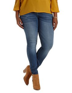Plus Size High-Waisted Skinny Jeans: Charlotte Russe