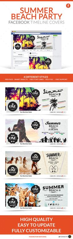 Facebook Timeline Covers - Summer Beach Party Template PSD #design Download: http://graphicriver.net/item/facebook-timeline-covers-summer-beach-party/11694363?ref=ksioks