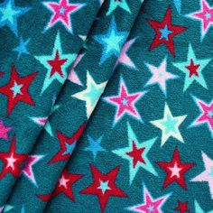 Wellness Fleece bedruckt  Sterne Mix Multicolor  Farbe Petrol