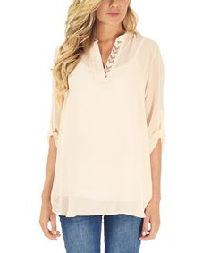 Look what I found on #zulily! PinkBlush Beige Chevron-Accent Maternity V-Neck Top #zulilyfinds
