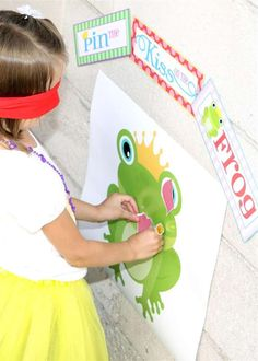 Kiss the Frog, modified pin the tail activity for a Storybook Princess Party | CatchMyParty.com