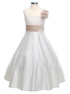Ivory Gorgeous Bridal Satin Flower Girl Dress - Flower Girl Dresses - GIRLS prettyflowergirl.com