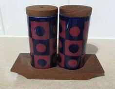 Vintage 1970s Hornsea Blue & Pink Rondel Cruet Salt & pepper c/w Mahogany Stand