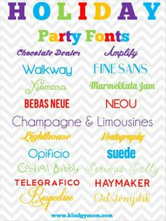 Great free holiday fonts and party fonts for Christmas crafts, party invitations, scrapbooking and more.
