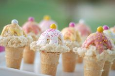 Rice Krispies ice cream cones. Great for a birthday party or school treat.