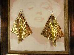 Gold metal mesh earrings disco earrings Gold by omeforever on Etsy