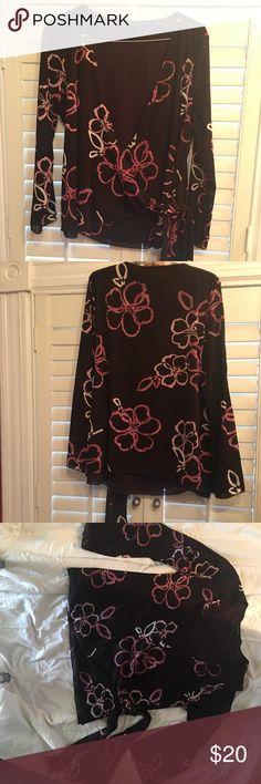 Deep V Dress Top Pretty Brown/Pink Wrap & Tie Top Lane Bryant Tops Blouses