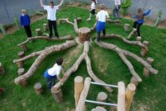 54 super ideas for backyard playground natural fun Natural Play Spaces, Outdoor Play Spaces, Kids Outdoor Play, Outdoor Learning, Outdoor Games, Outdoor Fun, Backyard Playground, Playground Ideas, Natural Outdoor Playground