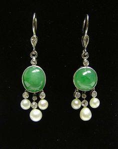 deco jade diamond and pearl earrings