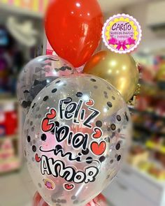 Balloon Decorations Party, Happy Words, Valentine Gifts, Happy Holidays, Diy And Crafts, Christmas Bulbs, Balloons, Doodles, Lettering