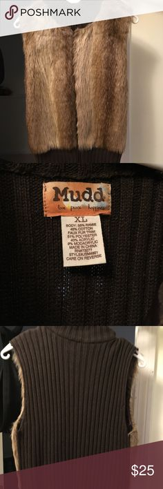 Beautiful Faux Fursleeveless fall/winter vest. Earth tones (front), dark brown sweater (back).  Front zipper Mudd Jackets & Coats Vests