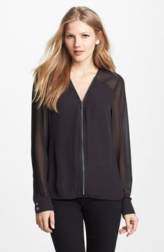 Vince Camuto Zip Front Chiffon Sleeve Blouse | Nordstrom