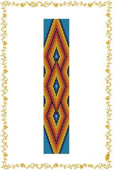 "Loom beading pattern Bracelet ""Ethnic style"". Seed bead pattern. Instant Download. Pattern PDF."