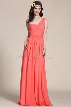 Glamorous One Shoulder Coral Bridesmaid Dress (07151357)