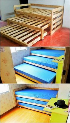 Inventive DIY Wood Pallet Projects for Your Home - Straight away into this wood pallet creation of ideal triple bunk bed piece, you will view the mode - Wooden Pallet Projects, Wooden Pallet Furniture, Wooden Pallets, Wooden Diy, Diy Furniture, Diy Wood, Pallet Sofa, Pallet Bunk Beds, Furniture Plans