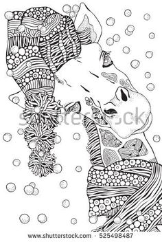 Coloring Book Page For Adult And Children Winter Giraffe In Knitted Hat Scarf