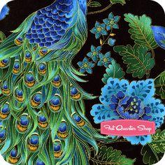 Plume Black Beautiful Peacock Yardage SKU# CM8662-BLACK