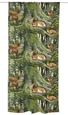 Bambino, green by Matleena Issakainen Oh Deer, Nara, Green Backgrounds, Japanese Culture, Print Patterns, Wildlife, Around The Worlds, Colours, Curtains