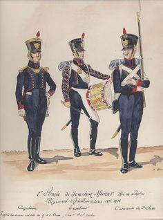 l'Armée de Joachim Murat, roi de Naples Régiment d'Artillerie à pied 1811-1813 Capitaine Tambour Cannonier de 2e classe