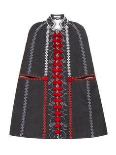 Vita Kin Embroidered long wool cape