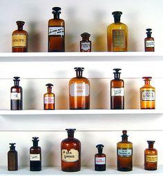 knick knacks: Old Medicine Bottles and Simple Shelves Brown Bottles, Amber Bottles, Antique Bottles, Bottles And Jars, Glass Bottles, Perfume Bottles, Amber Glass, Antique Glass, Antique Items