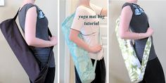 "Modest Maven: Yoga Mat Bag Tutorial consider adding ""bubbles"" to the bottom, extend bag to take shower stuff, workout gear. Sewing Hacks, Sewing Tutorials, Sewing Projects, Sewing Tips, Sewing Ideas, Blog Couture, Yoga Mat Bag, Wet Bag, How To Do Yoga"