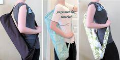 "Modest Maven: Yoga Mat Bag Tutorial  consider adding ""bubbles"" to the bottom, extend bag to take shower stuff, workout gear."