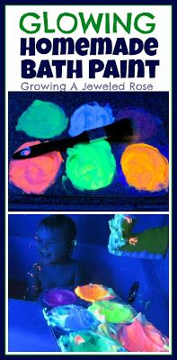 homemade glow in the dark bath paint! totally have to try this! and it's so easy. Take shaving cream and food colouring and mix together!