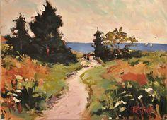 Original Painting of Seascape / Landscape off the coast of Maine by Russ Potak. $200.00, via Etsy.