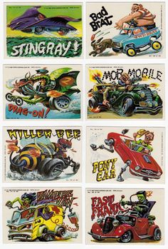 Annoyed by the amount of low resolution website scans of this great Topps trading card series from I took it upon myself to scan in m. Cartoon Car Drawing, Cartoon Art, Vintage Horror, Vintage Cartoon, Cool Car Drawings, Ford Mustang Shelby Cobra, Garage Art, Car Posters, Aviation Art