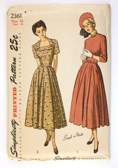FF 1940s Dress Pattern Full Circle Skirt Simplicity 2361 Bust 34 Square Neckline. $25.00, via Etsy.