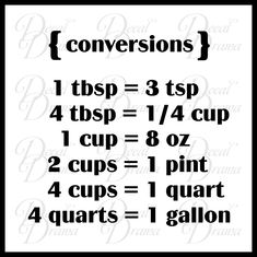 Kitchen Conversions 1 tbsp = 3 tsp 4 tbsp = cup 1 cup = 8 oz 2 cups = 1 pint 4 cups = 1 quart 4 quarts = 1 gallon, Vinyl Wall Decal from Decal Drama – Bildung Site Wallpaper Food, Baking Wallpaper, Cooking Recipes, Healthy Recipes, Cooking Hacks, Cooking Oil, Cooking Icon, Healthy Food, Cooking Steak
