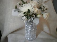 Rhinestone Crystal Ribbon Bouquet Vases Centerpiece bling wedding vases Set of (10) on Etsy, $80.00