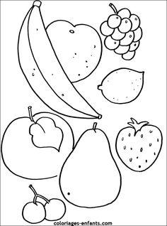 coloriages de fruits et légumes Fruit Coloring Pages, Pattern Coloring Pages, Cute Coloring Pages, Coloring Sheets, Coloring Books, Drawing For Kids, Painting For Kids, Vegetable Pictures, Page Borders Design