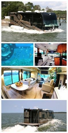 Luxury Lifestyle : Say what! A luxury camper van that turns into a boat! This is will blow you a Luxury Campers, Luxury Motorhomes, Rv Campers, Luxury Caravans, Luxury Bus, Cbx 250, Kombi Motorhome, Campervan Hire, Airstream Trailers