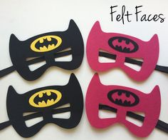 One set of 4 Batman & Batgirl party masks, one of each style shown in the photo. Each mask is made with premium felt, and has a black elastic band sewn to each side of the back. These adorable party m
