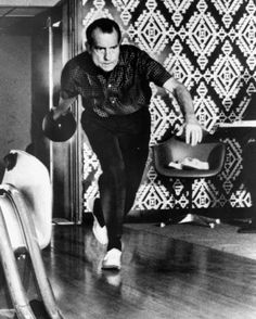 Presidential candidates at play  President Richard M. Nixon bowls at the White House's one-lane bowling alley, which he and the first lady installed the previous year.
