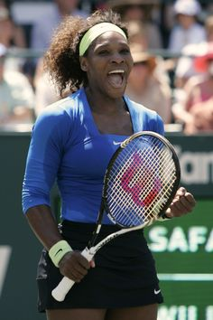 Serena celebrates after using her Wilson Blade Team tennis racket to take the Charleston title