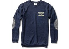 Women's Crewneck Navy Sweatshirt with elbow patches- TOMS is officially my fave. First amazing shoes, now comfy shirts!
