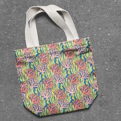 A tote bag mockup using one of the patterns from Northern Whimsy's Coral Reef collection - contact us to discuss licensing! Bag Mockup, Tropical Fish, Surface Pattern, Diaper Bag, Reusable Tote Bags, Super Cute, Coral, Patterns, Digital