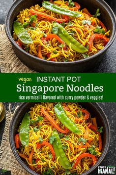 Rice vermicelli loaded with vegetables and seasoned with curry powder. These Vegetarian Singapore Noodles are made in one-pot in less than 30 minutes! Vermicelli Recipes, Thai Peanut Noodles, Curry Noodles, Rice Noodles, One Pot Vegetarian, Vegetarian Recipes, Vegan Meals, Instant Pot, Singapore