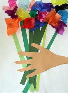 "Pablo Picasso's ""Hands with Bouquet"", Trace child's hand and cut out, add strips of green paper for stems, wrap tissue squares around eraser end of a pencil and glue to the tops of the stems. An easy beautiful spring bouquet."