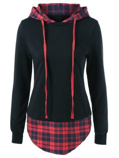 Plus Size Drawstring Plaid Trim Hoodie in Red With Black | Sammydress.com
