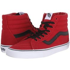 Vans SK8-Hi Reissue Chili Pepper/Black) Skate Shoes ($60) ❤ liked on Polyvore featuring shoes, sneakers, print sneakers, black leather shoes, black trainers, print shoes and leather trainers