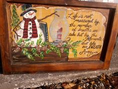 Hand painted snowman window by casey sims Painted Window Panes, Window Art, Window Ideas, Christmas Signs, Winter Christmas, Christmas Decorations, Window Pane Picture Frame, Picture Frames, Snowman Crafts